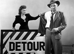 """Ann Savage and Tom Neal in a publicity shot of the low-budgeted Film Noir """"Detour"""" (Edgar Ulmer, 1946)."""