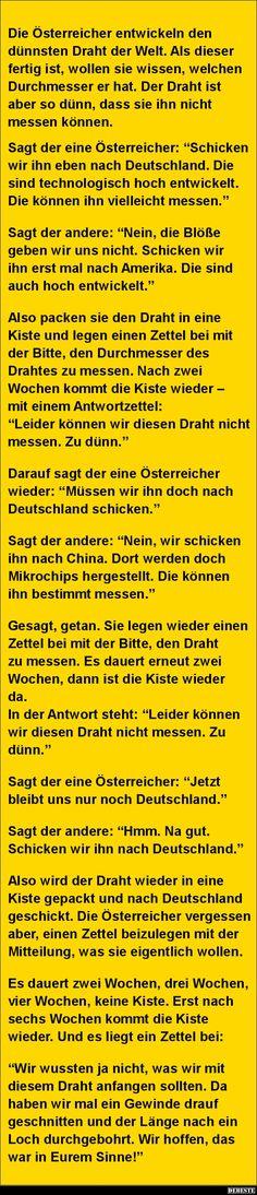 Die Österreicher entwickeln den dünnsten Draht der Welt.. | Lustige Bilder, Sprüche, Witze, echt lustig