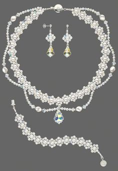 Jewelry Design - Double-Strand Necklace, Bracelet and Earring Set with Swarovski Crystal - Fire Mountain Gems and Beads Bead Jewellery, Crystal Jewelry, Beaded Jewelry, Jewelery, Handmade Jewelry, Jewellery Shops, Beaded Earrings, Beaded Bracelets, Swarovski Bracelet