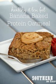 Gluten Free Banana Baked Protein Oats Recipe  low fat, gluten free, high protein, clean eating, lower carb, healthy, freezer friendly