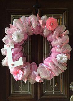 Baby girl wreath Hospital Door wreath Baby by TaylorsTreasuresTX