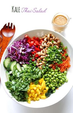 Kale Thai Salad with Peanut Dressing. Colorful. Healthy. Simple. Delicious. #glutenfree #vegetarian copy