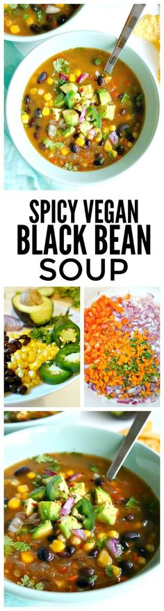 Spicy Vegan Black Bean Soup recipe is healthy, delicious, simple, packed with extra veggie goodness & ready in under 1 hour. A perfect dinner for those chilly nights this fall and winter! Vegan Soups, Vegan Dishes, Vegan Vegetarian, Vegetarian Recipes, Healthy Recipes, Simple Recipes, Vegan Meals, Vegan Bean Soup, Vegan Bean Recipes