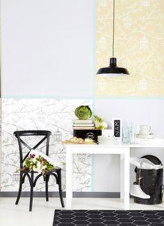Näinkin voi tapetoida. Collection for Walls -tapetit Pirkka-lehdessä 2014 3. www.k-rauta.fi Another way to use wallpaper.