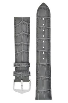 Hirsch LOUISIANALOOK Embossed Leather Watch Strap GREY – WatchObsession