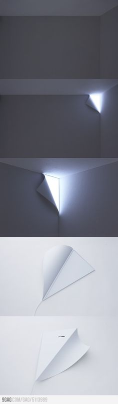 a lamp that is shaped so that it looks like your wall is peeling in the corner and there is light behind it.