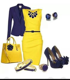 This Yellow dress looks as though it were hit off the catwalk. Teamed up with Navy blue, its a great work outfit. Classy Outfits, Chic Outfits, Fashion Outfits, Womens Fashion, Woman Outfits, Business Attire, Business Fashion, Jw Mode, Work Fashion