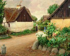 Hans Andersen Brendekilde. Village with flowers and woman