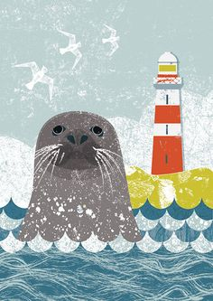Curiouser and Curiouser cards - Kate McLelland Illustration - seal // animal, illustration, animal illustrations, design, graphic design Sea Illustration, Animal Illustrations, Fantasy Illustration, Digital Illustration, Illustrations Posters, Grafik Design, Nursery Art, Cute Art, Art Lessons