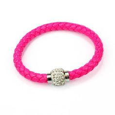 High Quality 1PC Wristband Magnetic Rhinestone Buckle Leather Wrap Bracelets Bangles June