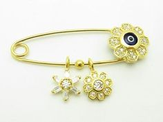 Other Fine Pins and Brooches 11007: 18K Gold Sterling Silver White Sapphire Evil Eye Design Baby Pin Stroller Gift BUY IT NOW ONLY: $76.5