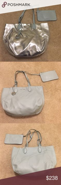 Michael Kors Large Silver/pale blue Reversible Bag Like New but no tags, attached purse which may be dropped into bag or left out as an attached accessory, dimensions 19 by 14.5 inches, strap drop is 9.5 inches Michael Kors Bags