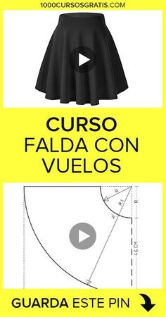 COSTURA In this free course we will explain how to make a skirt with flights. We will wait for you! Back Neck Designs, Blouse Neck Designs, Baby Dress Patterns, Sewing Patterns, Sewing Clothes, Diy Clothes, Sewing Hacks, Sewing Tutorials, Circle Skirt Pattern