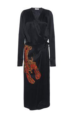 Gabriela Satin Robe With Lobster Embroidery  by ATTICO for Preorder on Moda Operandi