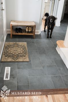 We just added Montauk Blue Slate Tile with iron grout as part of our recent upda. We just added Montauk Blue Slate Tile with iron grout as part of our recent update to the foyer makeover. The gray color. Entryway Tile Floor, Slate Floor Kitchen, Entry Tile, Entryway Flooring, Slate Flooring, Kitchen Flooring, Tiled Floors, Porch Flooring, Flooring Tiles