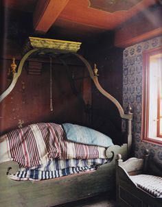 """Bedroom in 18th Century sea-captain's farmstead on Danish Island of Romo. Image from """"World of Interiors"""" Aug. 2011"""