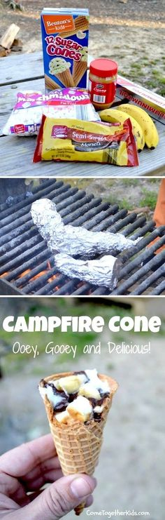 Campfire Cones- Easy to make a healthier version-vegans use non hydrogenated cones (health food store), organic peanut butter, vegan marshmallows, and non dairy chocolate chips