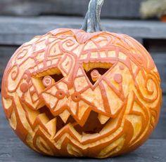 These intricate pumpkins are sure to turn heads. #halloween #pumpkins #jackolanterns