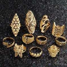 Newest Wedding Engagement Anniversary Rings For Women Men Gold Color Ring Butterfly Flower Bridal African Jewelry Indian Wedding Jewelry, Wedding Jewelry Sets, Engagement Jewelry, Wedding Engagement, Wedding Ring, Gold Earrings Designs, Gold Jewellery Design, Necklace Designs, Real Gold Jewelry
