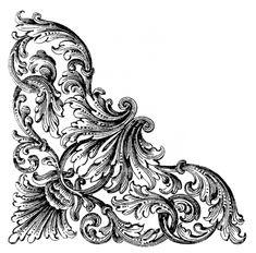 corner ornament by Image Digital, Borders And Frames, Scroll Design, Decoupage Paper, Acanthus, Pattern And Decoration, Digi Stamps, Vintage Labels, Gravure
