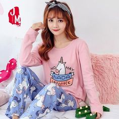 Unicorn Pajamas Autumn Winter Wonmen Long Sleeve 100% Cotton Pajama Sets  Cartoon Cute Animal Pyjama Sleepwear Plus Size M-XXXL c693df0cb