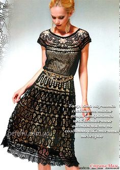 . Шикарное платье в технике брюгге. Схемы вязания, описание - Все в ажуре... (вязание крючком) - Страна Мам
