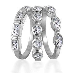 Bling Jewelry Baguette Marquise Round CZ Stackable Set of 3 Rings Silver *** You can get additional details at the image link.Note:It is affiliate link to Amazon.