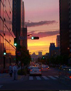 Sunset in Shinbashi, Japan