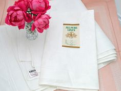 Pure Linen Napkins Vintage Unused (6) Damask Large Czechoslovakia Divine by gimmygoodies on Etsy