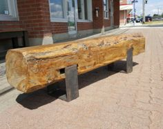 Beam Bench with Bent Steel Legs by JSReclaimedWood on Etsy