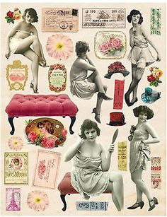 "RISQUE WOMEN Collage 8.5""x11"" Sheet mixed media altered art ATC cardmaking"