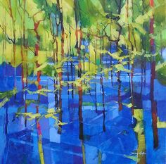 ARTFINDER: Forest Bluebells by Doug Eaton - Acrylic on canvas semi abstract landscape painting. Bluebell Woods - Forest of Dean