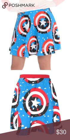 """Marvel Superhero American Dream Print Flare Skirt DETAILS • Marvel American Dream print flare skirt. • Elastic waistband. • Officially licensed. • Aqua Blue/Red. • 100% Cotton.  CONDITION New with tags.  SIZE 