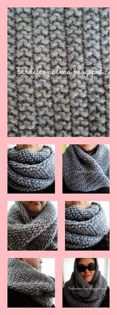 Tardes con Alma: Bufanda cuello modelo Infinitum a punto de arroz d. Crochet Ripple, Crochet Poncho, Crochet Yarn, Knitting Stiches, Arm Knitting, Knitting Patterns, Knitted Slippers, Ideas, Scarf Patterns