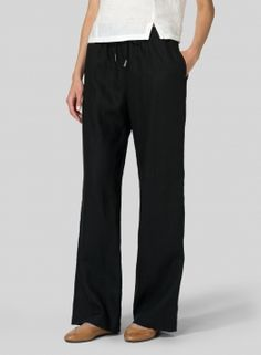 Linen Long Straight Pull-On Pants