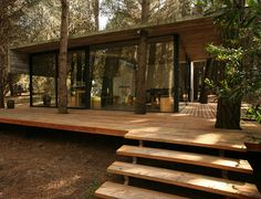 Forest home with wooden deck and greenery.