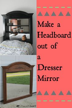 Headboard and Dresser Boho Perfect Beautiful Headboard made from a dresser mirror. Bedroom Diy, Dresser With Mirror, Headboard, Diy Home Decor, Home, Headboard Storage, Diy Storage, Diy Storage Dresser, How To Make Headboard
