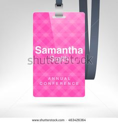 Conference badge with name tag placeholder blank badge template in pink conference badge with name tag placeholder blank badge template in plastic holder with black maxwellsz