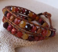 Wrapped Leather and Bead Bracelet, Czech Glass, Emerald Green, Double Wrap, Autumn Colors
