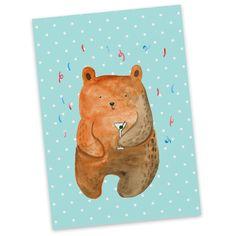 Postkarte Bär Party aus Karton 300 Gramm  weiß - Das Original von Mr. & Mrs. Panda.  Jedes wunderschöne Motiv auf unseren Postkarten aus dem Hause Mr. & Mrs. Panda wird mit viel Liebe von Mrs. Panda handgezeichnet und entworfen.  Unsere Postkarten werden mit sehr hochwertigen Tinten gedruckt und sind 40 Jahre UV-Lichtbeständig. Deine Postkarte wird sicher verpackt per Post geliefert.    Über unser Motiv Bär Party  Der Party Bär ist das ideale Geburtstagsgeschenk aus der Mr. & Mrs. Panda…