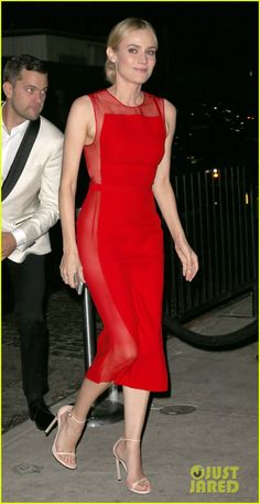 diane kruger goes red hot at met ball 2014 after party with joshua jcakson 04 Diane Kruger switches up her look for the 2014 Met Ball After Party to a hot red dress on Monday evening (May 5) in New York City.    The 37-year-old actress was…