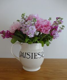 Emma Bridgewater Toast & Marmalade 6 Pint Jug filled with peonies and stocks