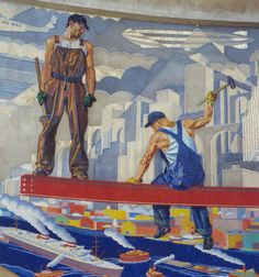 WPA mural German artist Winold Reiss was commissioned to design and create two 22 foot m) high by 110 foot m) long color mosaic murals depicting the history of Cincinnati. Clemente Orozco, World Map Mural, Industrial Paintings, Industrial Artwork, Works Progress Administration, Propaganda Art, Bd Comics, Labor, Mural Painting