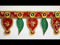 Designer Toran 26/ DIY/ Bandhanwar - YouTube Gauri Decoration, Diwali Decoration Items, Thali Decoration Ideas, Diwali Decorations At Home, Decor Ideas, Diy Crafts Hacks, Diy Home Crafts, Handmade Crafts, Diwali Craft