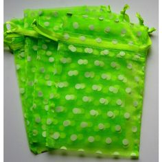 Set of 10 Citrus with White Polka Dot Organza Bags (4x6) ($3.99) ❤ liked on Polyvore featuring beauty products, beauty accessories and bags & cases