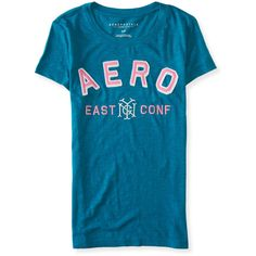 Aero East Graphic T (£19) ❤ liked on Polyvore featuring tops, t-shirts, bayou, graphic design t shirts, slim fit graphic t shirts, aeropostale t shirts, blue tee and blue t shirt