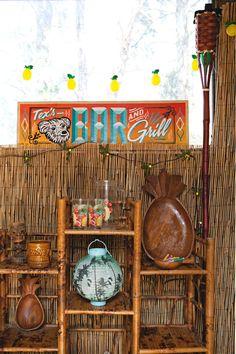 Angela& Quirky Little Shack, Caravan, Tram & Tiki Bar: gallery image 37 Barbacoa, Apartment Therapy, Tiki Art, Tiki Tiki, Vintage Tiki, Vintage Hawaii, Tiki Bar Decor, Bamboo Shelf, Tiki Lounge