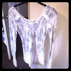 Lace print long sleeve shirt Miss Me Shirt is like new, sheer and stretchy material with lace print. Has small clear bead work on the front hand stitched. Small hole on top of left shoulder shown in picture, no stains Miss Me Tops Tees - Long Sleeve