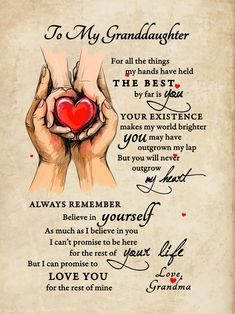To My Granddaughter – Bo Canvas Grandson Birthday Quotes, Grandson Quotes, Grandkids Quotes, Quotes About Grandchildren, Mother Daughter Quotes, Mother Quotes, To My Daughter, Wisdom Quotes, True Quotes