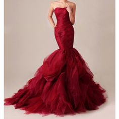 mermaid wedding gown dramatic layers skirt | Home Gossip Girl Inspired Dramatic Red Mermaid Gown